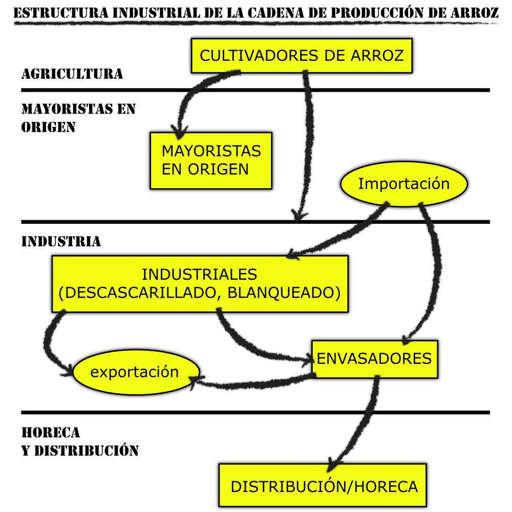 Estructura industrial de la cadena de producción de arroz